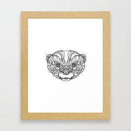 Oriental Small-clawed Otter Doodle Art Framed Art Print