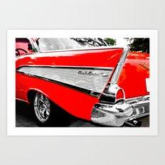 Chevrolet Bel Air Fin Red & Chrome Art Print