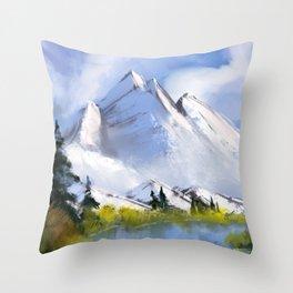 Digital Acrylic Painting Snowy Mountain Throw Pillow