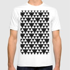 triangles black and white pattern Mens Fitted Tee MEDIUM White