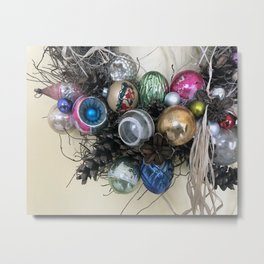 Vintage Ornament Wreath Metal Print