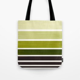 Olive Green Minimalist Watercolor Mid Century Staggered Stripes Rothko Color Block Geometric Art Tote Bag