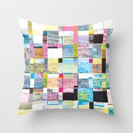 Summer Glitch Throw Pillow