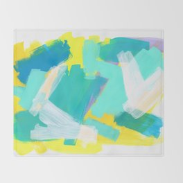 Be Kind, Be OK pastel color abstract painting mint green modern art acrylic mixed media Throw Blanket