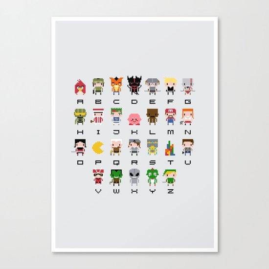 Video Games Pixel Alphabet Canvas Print