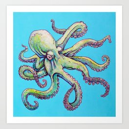 Angry octopus Art Print