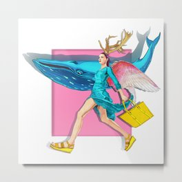 Angel and blue whale Metal Print
