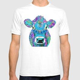 Mandala Blue Moo - Fun Jersey Cow Art - Sharon Cummings T-shirt