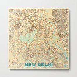 New Delhi Map Retro Metal Print