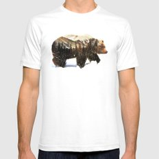 Arctic Grizzly Bear LARGE Mens Fitted Tee White