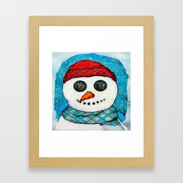 Reflections Christmas Snowman Folk Art Framed Art Print