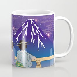 Hokusai People Seeing Mt. Fuji under the Stars Coffee Mug