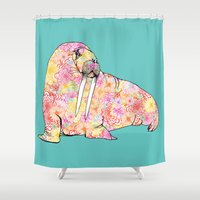 walrus Shower Curtains featuring Aqua Walrus by Supermaggie