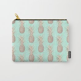 Golden and mint pineapples pattern Carry-All Pouch