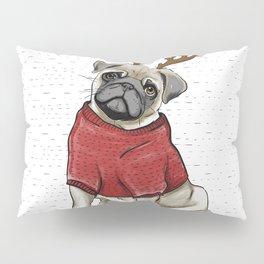 Reindeer Pug Pillow Sham