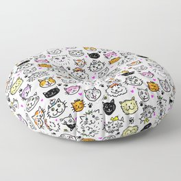 Whimsical Cat Faces Pattern Floor Pillow