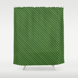 Green Flash and Black Stripe Shower Curtain