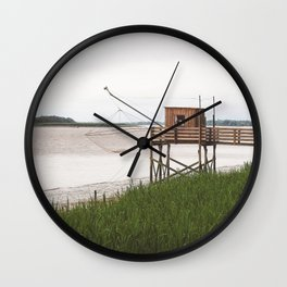Wooden Fishing Hut on Stilts in the Gironde river, France (Carrelets) - French Nature and Landscape Photography Wall Clock