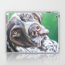 GSP German Shorthaired Pointer dog portrait art from an original painting by L.A.Shepard Laptop & iPad Skin
