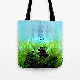 TREES under MAGIC MOUNTAINS V-HF-GREEN Tote Bag
