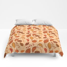Leaves and pumpkins Comforters
