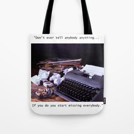 Vintage Typewriter with Catcher in the Rye quote Tote Bag