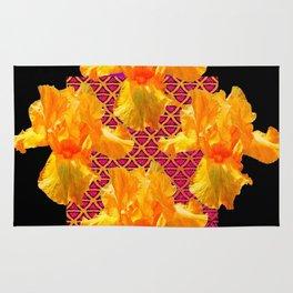 Golden Spring Iris Patterned Black  Decor Rug
