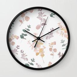 Watercolor Eucalyptus Cider Gum Leaves  Wall Clock