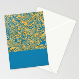Liquid Swirl - Hawaiian Surf Blue and Citrus Yellow Stationery Cards