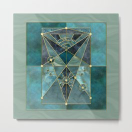Stained Glass Watercolor Marble Mineral Design Turquoise Teal Gold Metal Print
