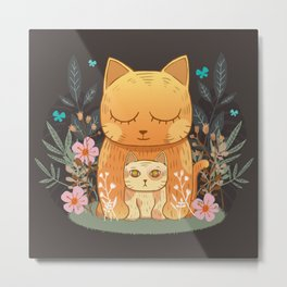 Little munchkin cat and flowers Metal Print