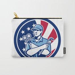 American Air-Con Serviceman USA Flag Icon Carry-All Pouch