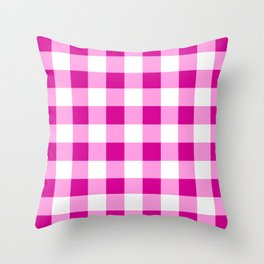 Magenta and White Check Throw Pillow