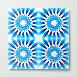 Bright Blue Watercolor Pinwheel Flowers Metal Print