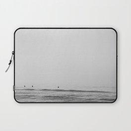 Surfers - Black and White Ocean Photography Huntington Beach California Laptop Sleeve