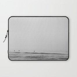 Surfers - Black and White Ocean Photography Huntington Beach California Laptop Sleeve