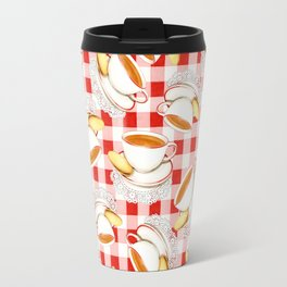 Cup of Tea, a Biscuit and Red Gingham Travel Mug