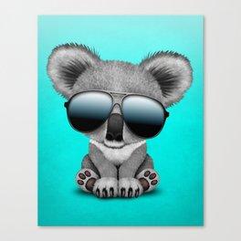 Cute Baby Koala Bear Wearing Sunglasses Canvas Print