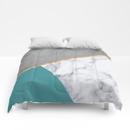 MARBLE TEAL GOLD GRAY GEOMETRIC Comforters