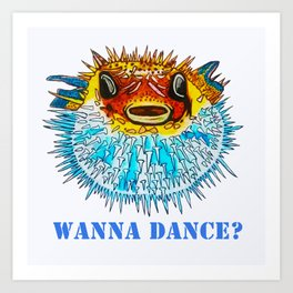 Pufferfish Punch Art Print