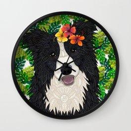 Tropical Border Collie Wall Clock