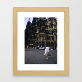 Vintage Color Photo * Kodachrome * Brussels * Town Square * Fashion Framed Art Print