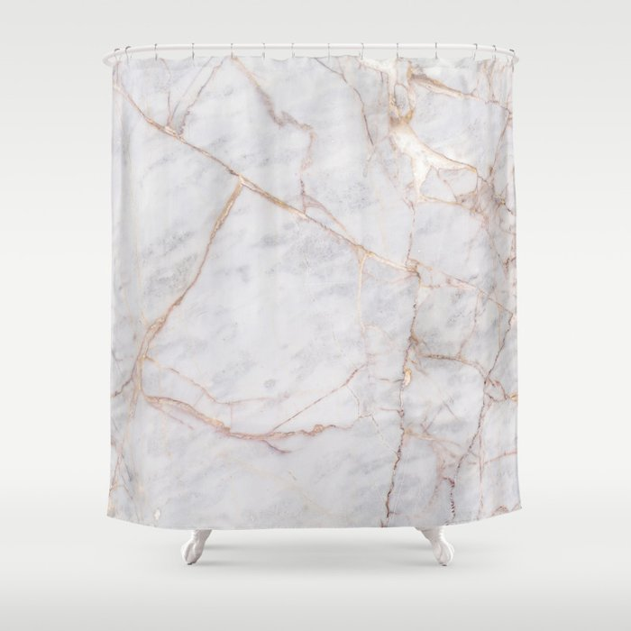 White Italian Marble & Gold Shower Curtain by newwave | Society6