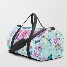 Vintage modern pink green teal watercolor floral Duffle Bag