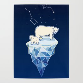 Polar bears on iceberg Poster