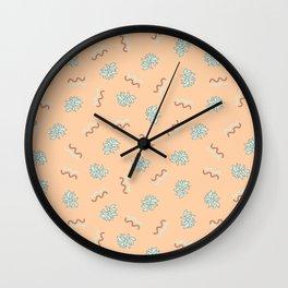 Postmodern Restaurant Floral in Peach Napkin Wall Clock