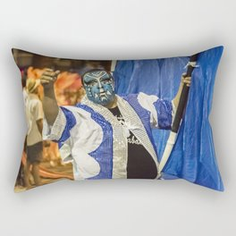 Painted Face Man at Inagural Parade of Carnival in Montevideo Rectangular Pillow
