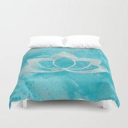 Lotus Flower on Aqua Duvet Cover