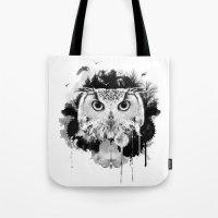 scandinavian Tote Bags featuring Scandinavian Owl by Le Dous