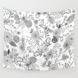 Abstract black white rustic modern floral illustration Wall Tapestry